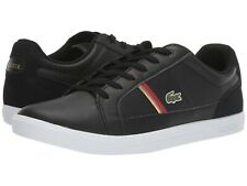 LACOSTE Europa 319 1 Croc Logo Leather Shoes Men's Fashion Sneakers Black Red