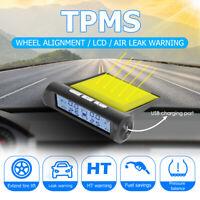 Solar Wireless Car TPMS Tire Pressure Monitoring System Temp Alarm +4 Sensor Kit