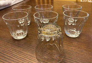 """Set of Seven PALAKS 3-1/2"""" Clear BAROQUE GLASSES 8 Ounces Paneled NICE!"""