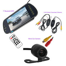"Wireless Parking Backup Camera 7"" HD Car Rear View Bluetooth Mp5 Mirror Monitor"