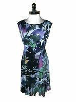 CONNECTED Size 12 A-Line Dress Black Purple Blue Floral Sleeveless Knee Length
