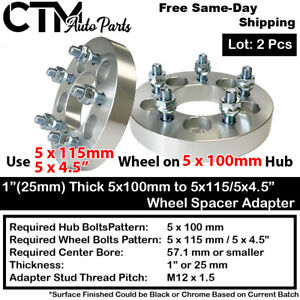 "2PC 1"" THICK 5x100 TO 5x4.5"" WHEEL ADAPTER SPACER FIT TOYOTA/LEXUS/PONTIAC MORE"