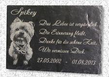 Ihr Tierfoto & Wunschtext Gravur in Schiefer Grabstein Gedenktafel Gedenkplatte