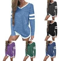 Women Casual V Neck Long Sleeve Tops Pocket Blouse Autumn Winter Tops Shirts US