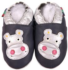 shoeszoo hippo grey 18-24m S soft sole leather baby shoes