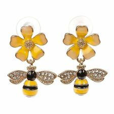 Betsey Johnson Gold Plated Yellow Black Striped Bee Flower Stud Earrings