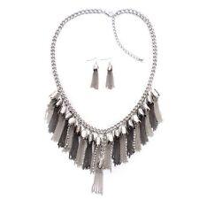 """Collar De Cristal Austriaco (18"""" + 2"""") y gancho pendientes en tono plata/negro"""