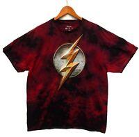 DC Comics Men's Flash Logo Red Tie Dye Licensed T-Shirt Size XL New