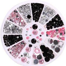 3d - nail - art tipps edelsteine 3 farben crystal glitter strass diy-dekoration