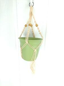 "Vintage Macramé Plant Hanger Pot Holding Beige Wood Beads 23"" Braided Boho Hip"