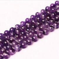 "Natural Round Amethyst Making Loose Gemstone Beads Stone Strand Jewelry 15"""