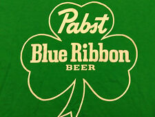PABST BLUE RIBBON BEER SHAMROCK t shirt fits LARGE st patricks day irish