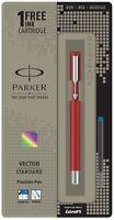Parker Vector Standard CT Fuente Bolígrafo Rojo Cuerpo + 1 Tinta Azul Nuevo