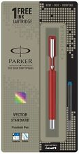 Parker Vector Standard CT Fountain Ink Pen Red Body + 1 Blue Ink New Stock