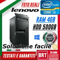 PC DESKTOP COMPUTER FISSO LENOVO M92P TOWER CPU I3 3gen RAM 4GB 500GB HDD +WIN10