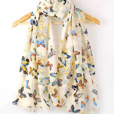Women Lady Chiffon Butterfly Print Neck Shawl Scarf Scarves Wrap Stole Warm Gift