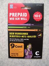 Congstar Prepaid wie ich will Handy SIM Karte 10 € Guthaben D1 Netz VIP Nummer