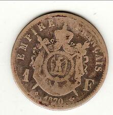 RARE 1 FRANC NAPOLEON III TETE LAUREE 1870 BB     b1 t10