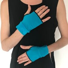 Short Costume Gloves Blue Arm Cuffs Shiny Wetlook PVC Mens Womens Cosplay Outfit