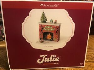 American Girl Julie's Christmas Fireplace Set NIB NRFB NEW Ceramic Tree