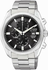 Citizen CA0020-56E Mens Watch Titanium Eco-Drive Chronograph Black Dial Sapphire