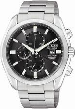 Citizen CA0020-56E Mens Watch Titanium Eco-Drive Chronograph Black Dial Sapphire