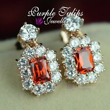18CT Rose Gold Plated Luxury Bridal Ruby Earrings Made With Swarovski Crystals