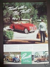 1940 Plymouth SPORTSMAN Red Convertible Car Photo Ad