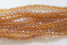 1 Strand Glass Bicone Beads - Golden Rod Amber Luster - 4mm
