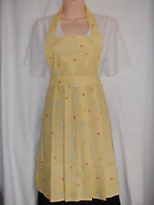 Vintage Style Cotton Apron With Pleated Skirt in Two Sizes (Yellow Spots)