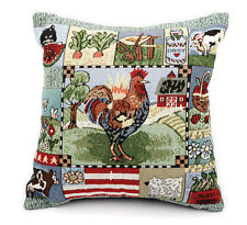 "Rooster Chicken Tapestry Cushion /  Pillow Cover Country 33x33cm 13x13"" New."