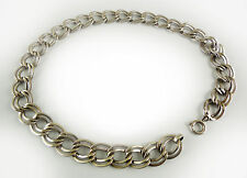 STERLING SILVER CHAIN LINK NECKLACE, HEAVY, VINTAGE — VERY CLASSIC STYLE, MINT
