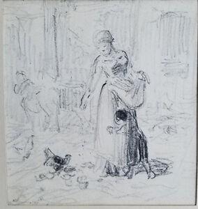 Charles Emile Jacque (France 1813-1894) Original Pencil Drawing