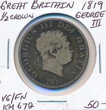 GREAT BRITAIN HALF CROWN 1819 GEORGE III KM672 - VG/FN