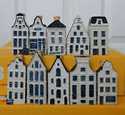 Lot of TEN different KLM Miniature Pottery Houses Blue Delft Style