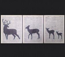 3 X Vintage Stag & Deer Original Vintage Dictionary Prints Pictures Wall Art