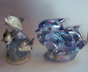 Lot of 2 DOLPHINS  Family FIGURINES Ceramic Porcelain