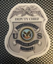 Veterans Affairs Police Deputy Chief Vinyl Sticker, Actual Badge Size