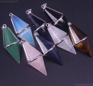 Natural Gemstone Circular Cone Pyramid Reiki Chakra Healing Pendant Beads Sliver