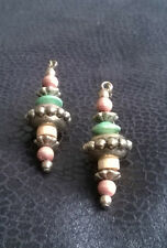 Brown & green wooden beaded and gold toned dangley earrings (multi 106)