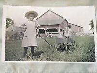 Vintage 1910's Farm Photograph Pennsylvania PA printed on a post card dog girl