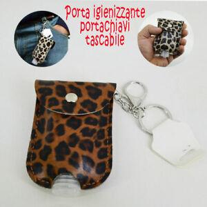 Porta gel igienizzante portachiavi tascabile pet 40 ml con custodia in eco pelle