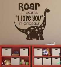 Wall stickers custom colour dinosaur roar means love you decal home vinyl kids