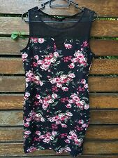Women Lady H & M Black Sleeveless Floral top lace mini short club Party dress
