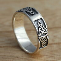 Solid 925 Sterling Silver Celtic Trinity Knot Oxidized Band/Thumb Ring M-Z+Sizes