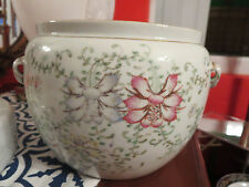 Antique Chinese Porcelain Jar Vessel Painted Flowers and Writing