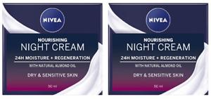 2 x Nivea 24h Moisture + Regeneration Night Cream Dry Sensitive Skin (2 x 50ml)