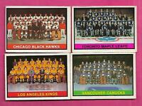 1974-75 OPC LEAFS + CANUCKS + HAWKS + KINGS  MARKED TEAM CHECKLIST (INV# A8070)