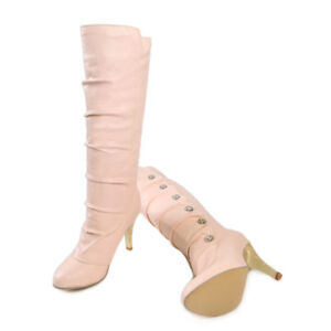 Fashion Womens Button Knee Boots Stiletto High Heels Pull On New Nightclub Shoes