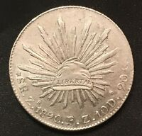 1890-Zs MEXICO Silver 8 Reales HIGHER GRADE !!!!!!!!!!